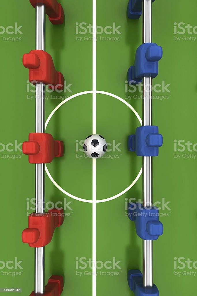 푸스볼 테이블을 구비하고 레드 및 블루 플레이어 royalty-free 스톡 사진