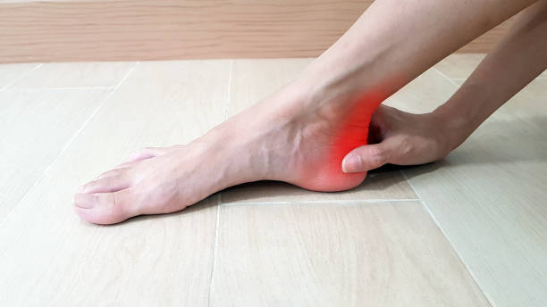 Foot anatomy with red highlight on painful area.  Ankle pain may cause from muscle strain, Achilles tendinitis, ligament sprain, arthritis, nerve entrapment, bursitis disease. Medical symptom concept stock photo