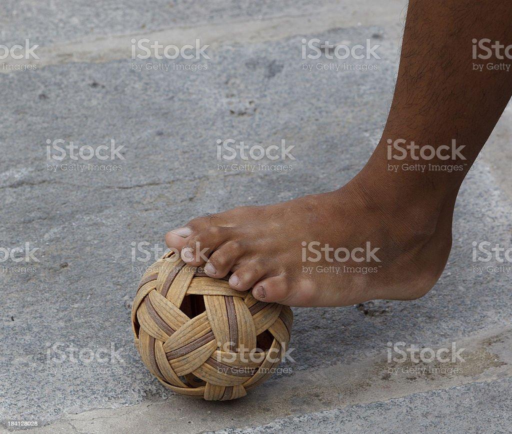Foot and Rattan ball Sepak takraw stock photo