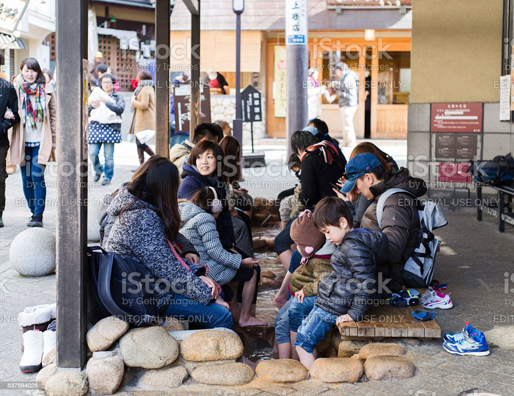 Foot bath in Arima Onsen stock photo