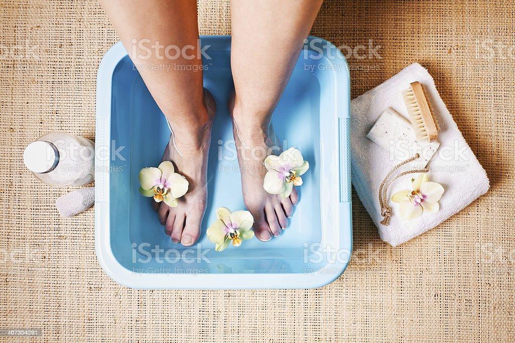Foot bath stock photo