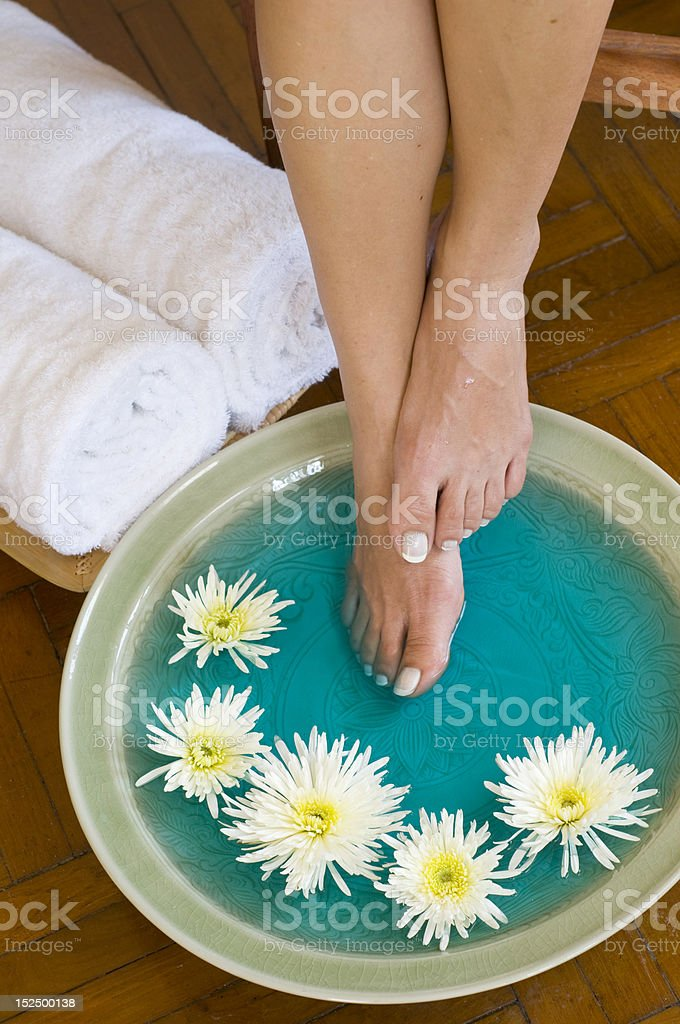 Foot bath with herbs and flowers royalty-free stock photo