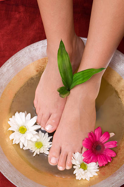 Foot care in water stock photo