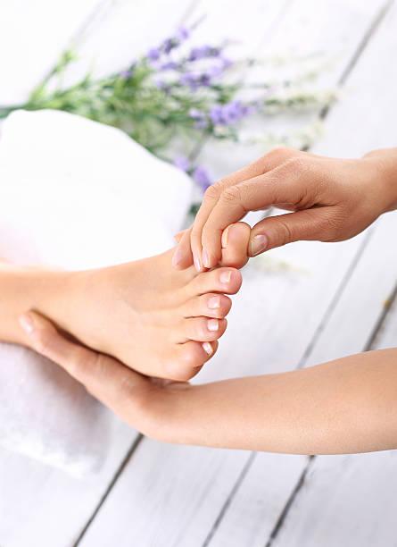 Foot care treatments stock photo