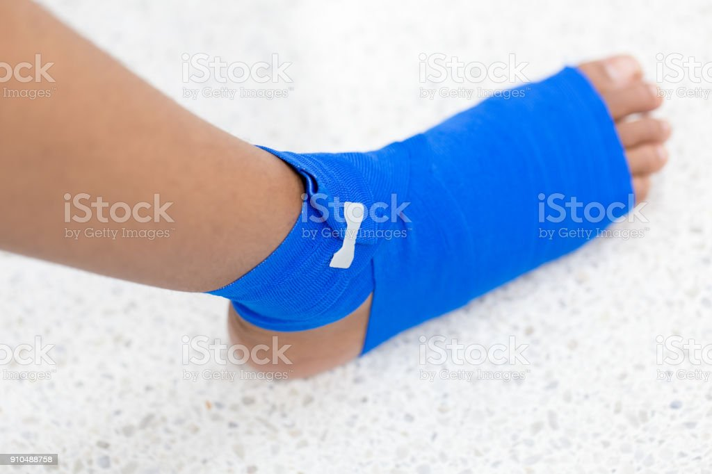 Foot injured, ankle in bandage.