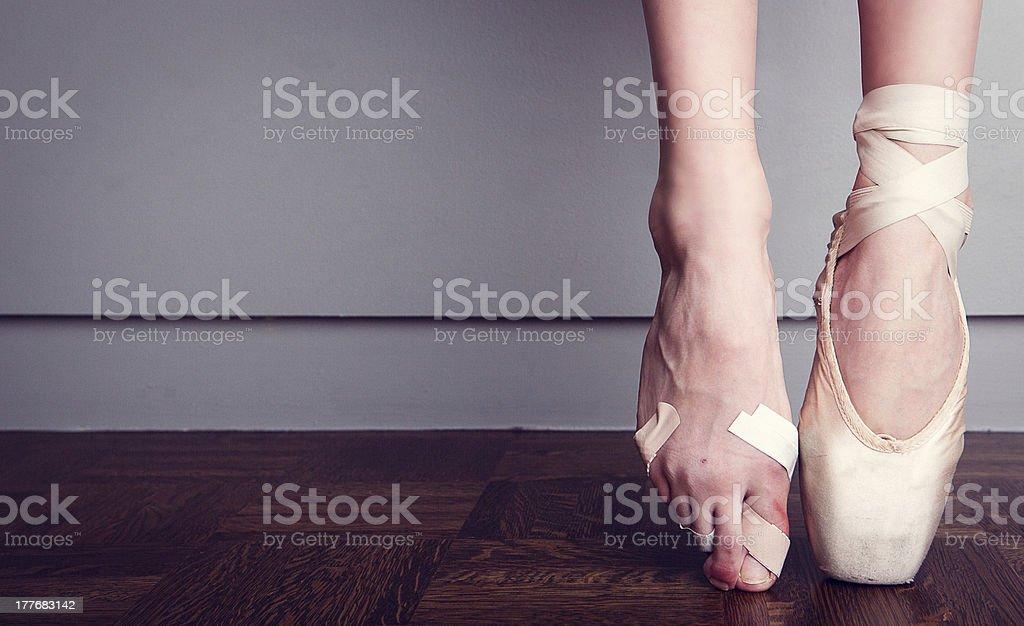 foot injured ballerina foot injured ballerina Adhesive Bandage Stock Photo