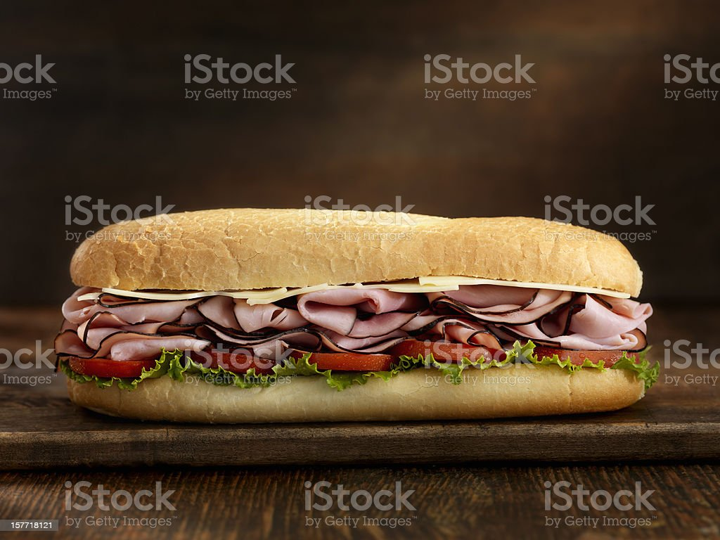 Foot Long Ham and Swiss Cheese Sub stock photo