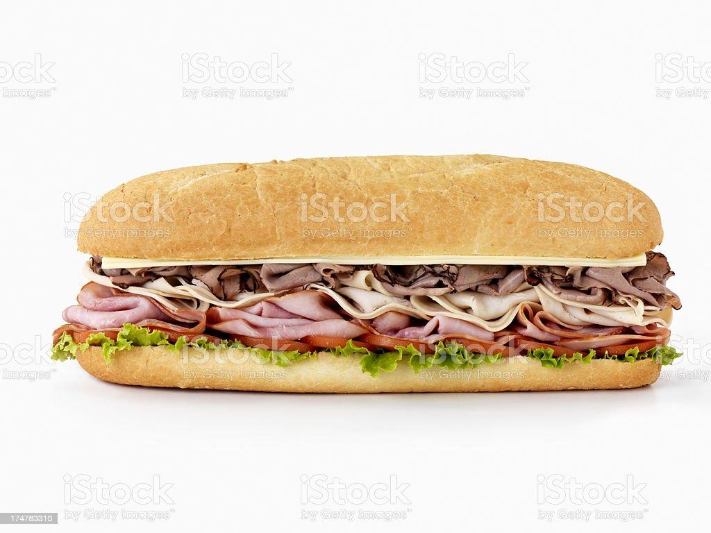 Foot long Loaded Submarine Sandwich royalty-free stock photo