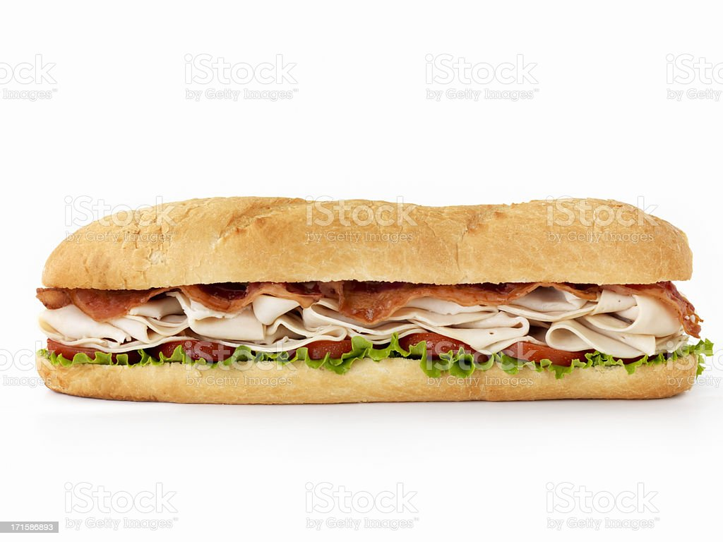 Foot long Turkey Club Submarine Sandwich stock photo