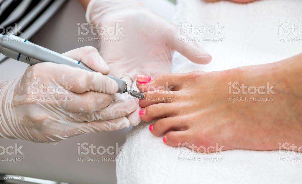 Foot nails treatment. stock photo