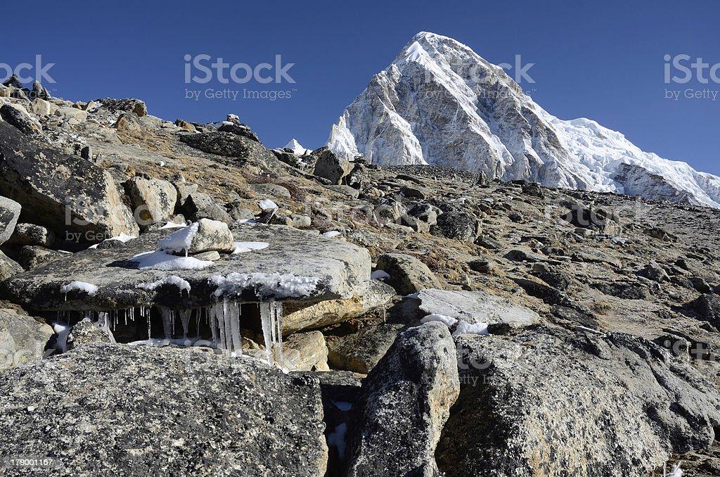 Foot of Kala Patthar mountain (5164 m ), Nepal, Everest region royalty-free stock photo