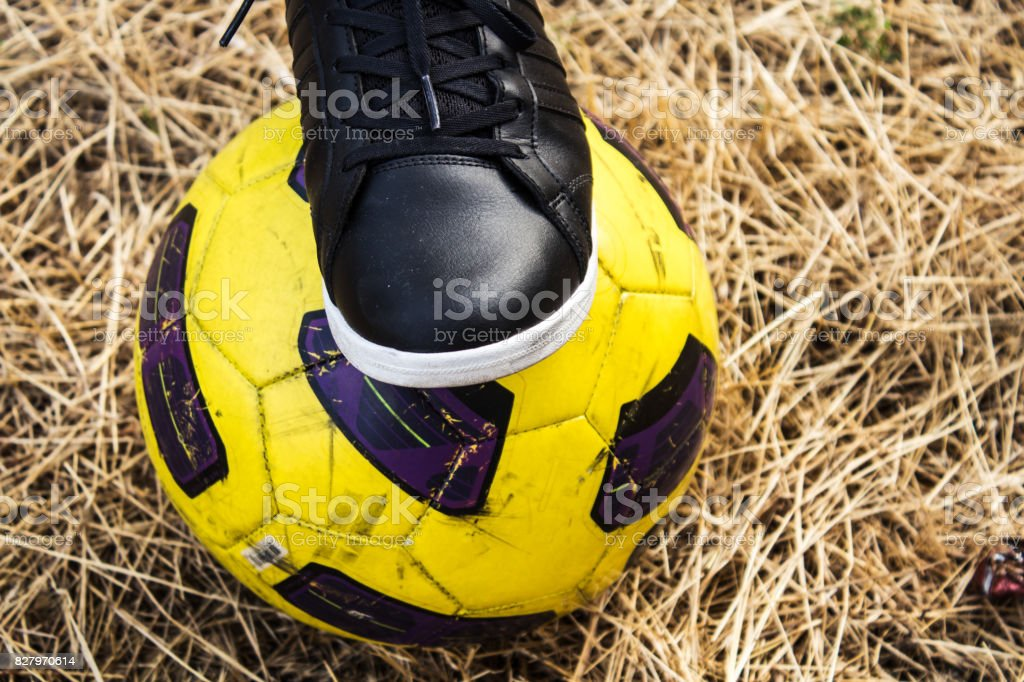 foot of woman in sneakers and soccer ball on a dry field stock photo