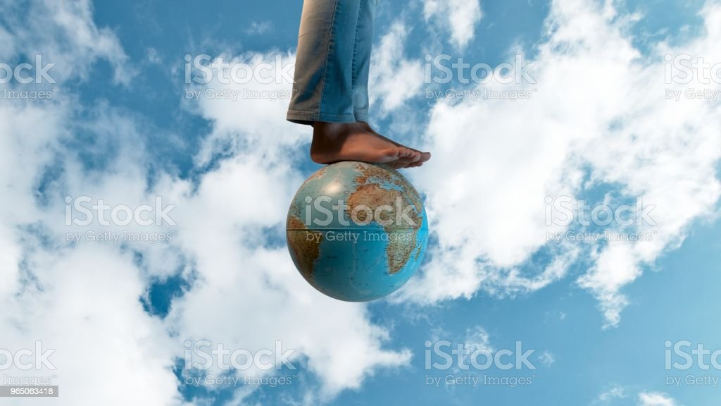 Foot on the Earth royalty-free stock photo