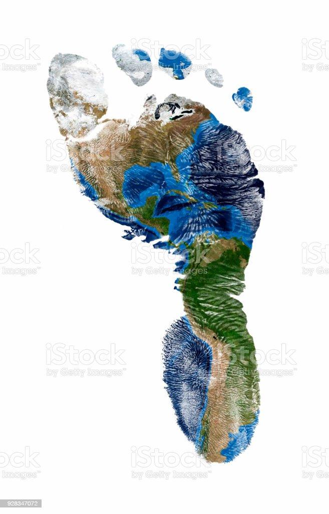 Fußdruck von Nord- und Südamerika – Foto
