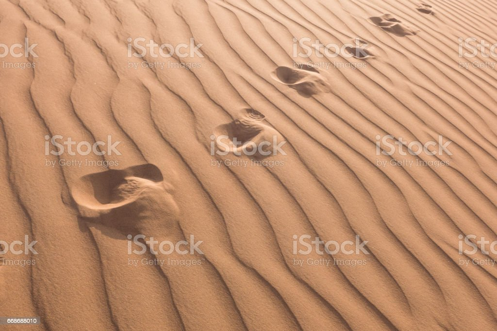 foot print on the sand texture stock photo