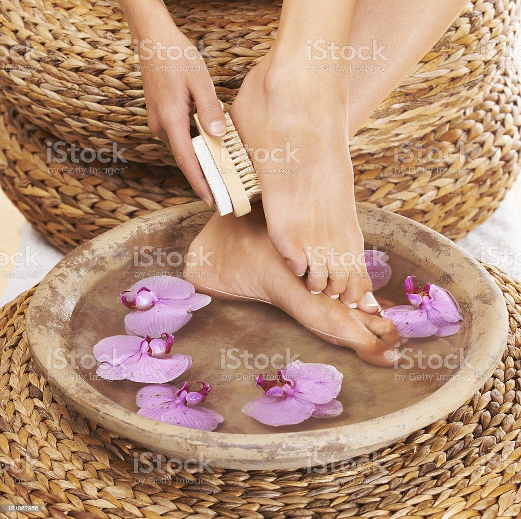 Foot scrub royalty-free stock photo