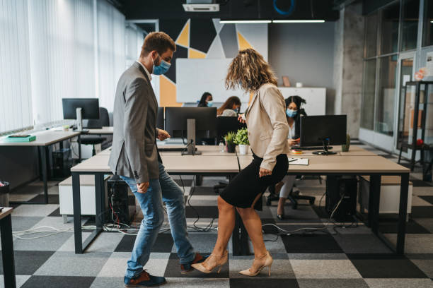 Foot shake dance in modern office stock photo