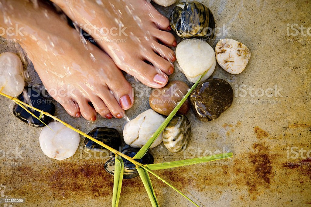 foot spa with stones, plant and shower royalty-free stock photo
