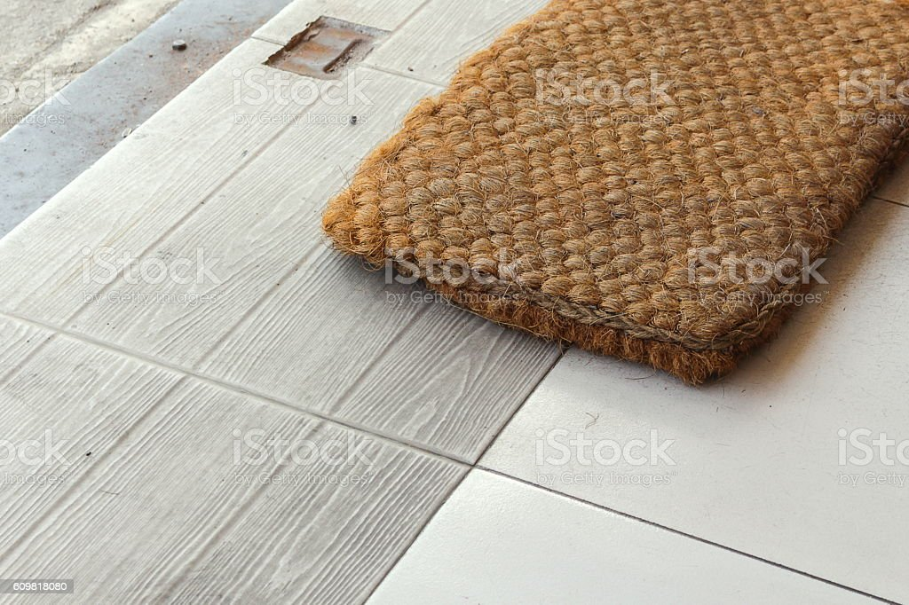 Foot Wipes made of coconut fiber stock photo