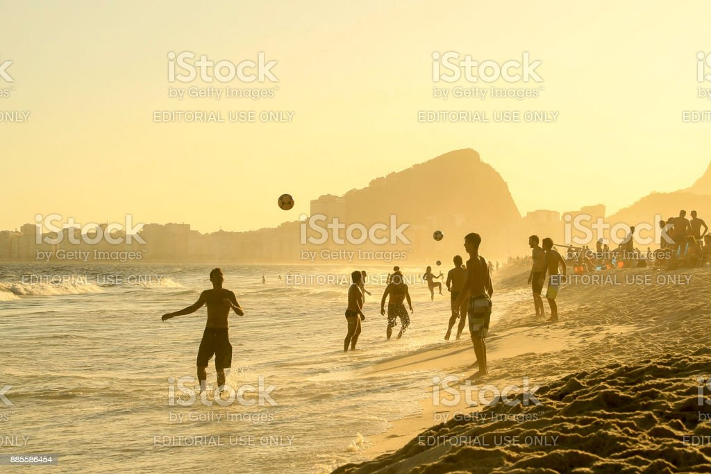 Footbal in Copacabana bech stock photo