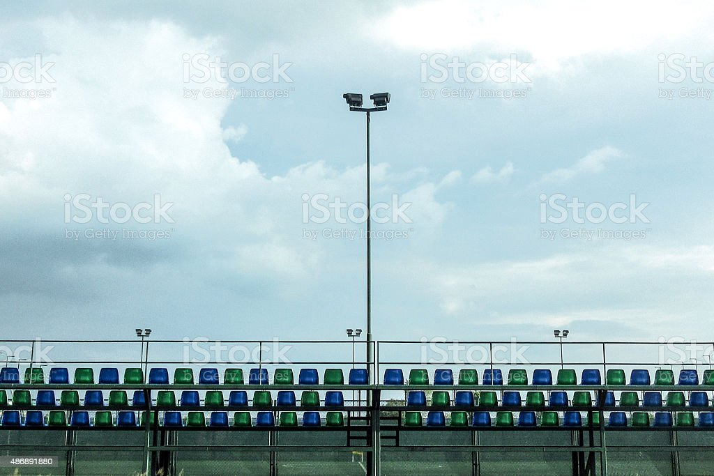 Footbal tribune seen from behind stock photo