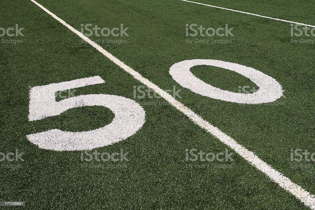 Football 50 yard line stock photo
