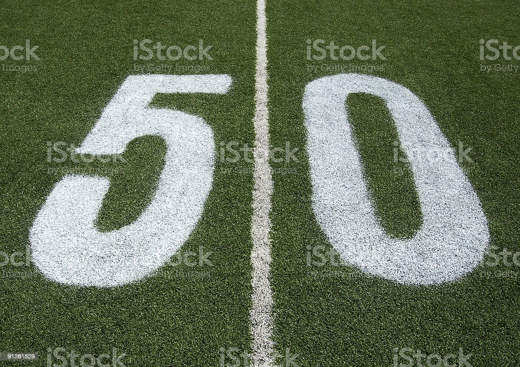 football 50 yard line royalty-free stock photo