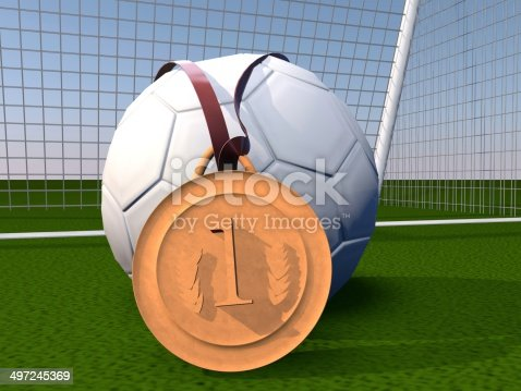 istock Football and gold medal 497245369