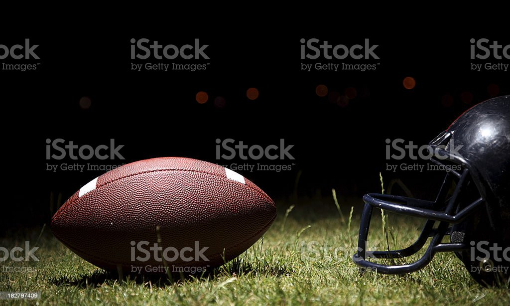 Football and helmet royalty-free stock photo