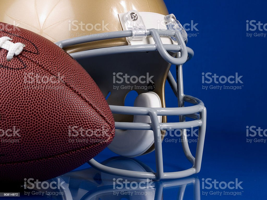 Football and Helmet - Side royalty-free stock photo