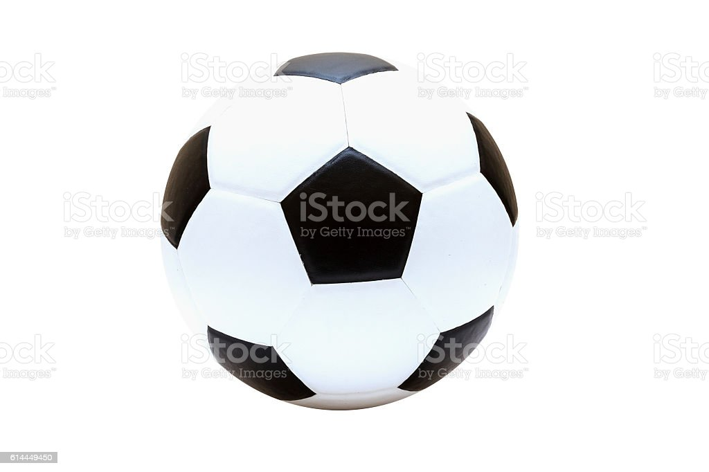 football and soccer ball isolated on white stock photo