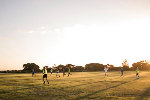 Football at Dusk stock photo