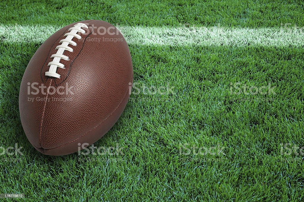 Football at goal line stock photo