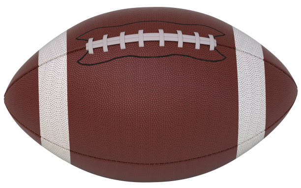 Football ball isolated 3d rendering football, ball, isolated, 3d, rendering, white background american football ball stock pictures, royalty-free photos & images