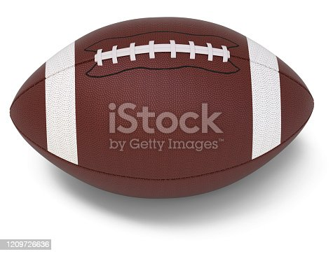 football, ball, isolated, 3d, rendering, white background