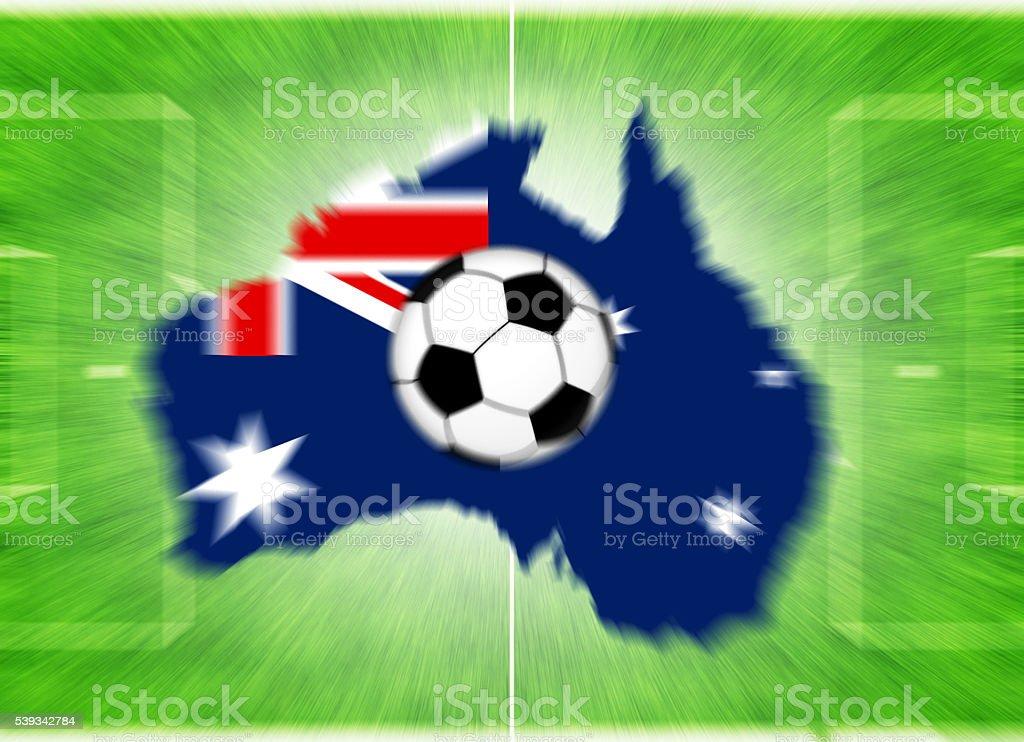 Football ball on a Australia map-flag. stock photo