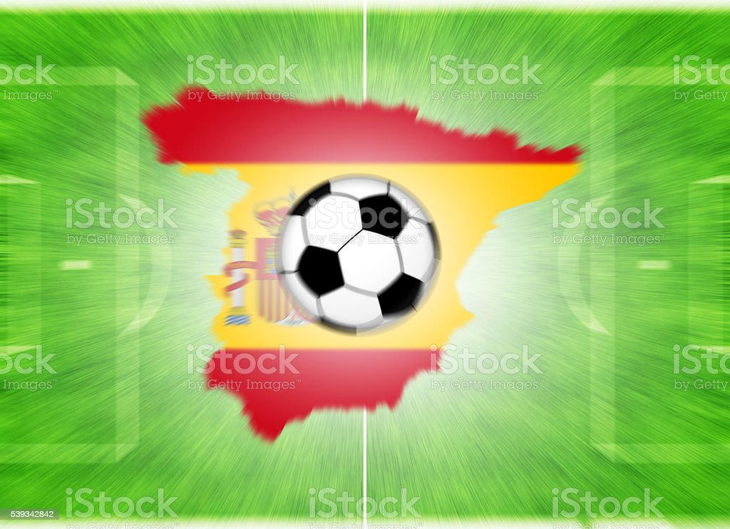 Football Map Of Spain.Football Ball On A Spain Mapflag Stock Photo More Pictures Of