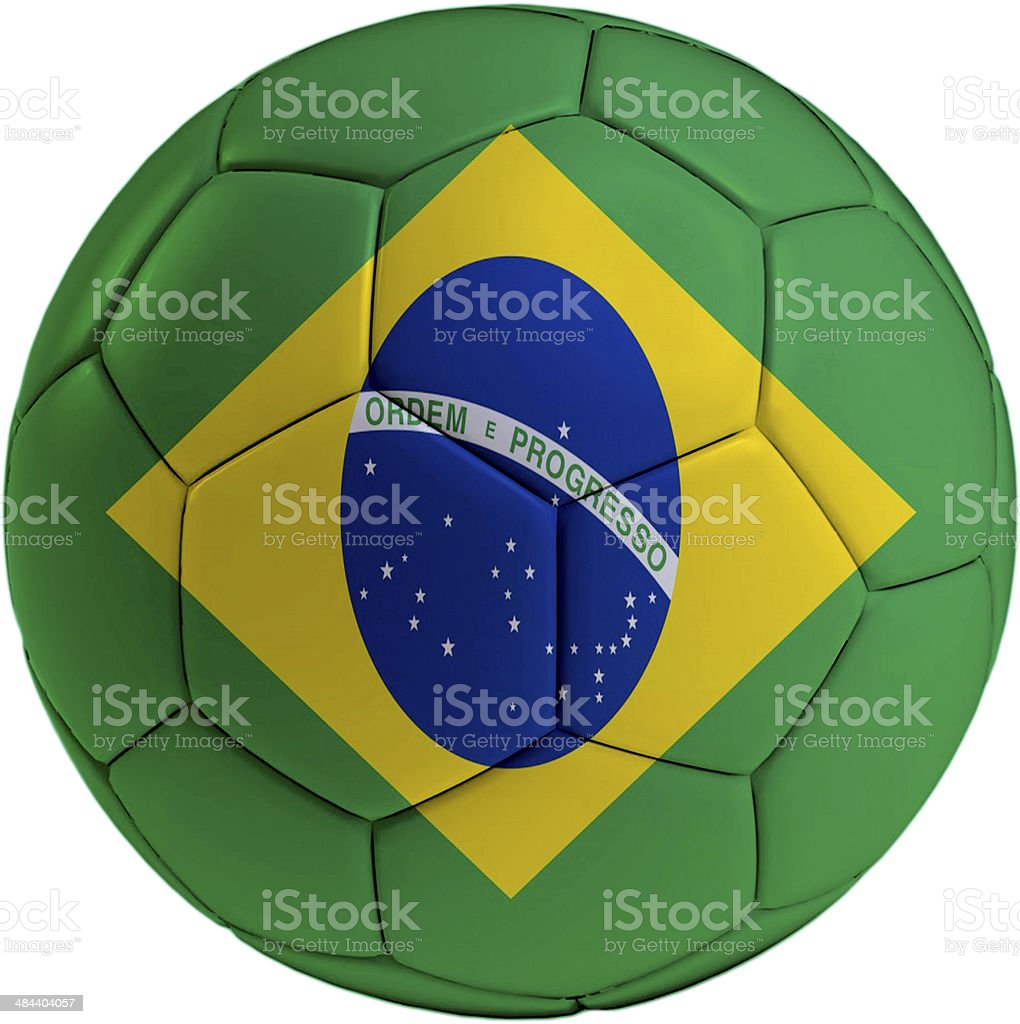Football ball with Brasil flag royalty-free stock photo