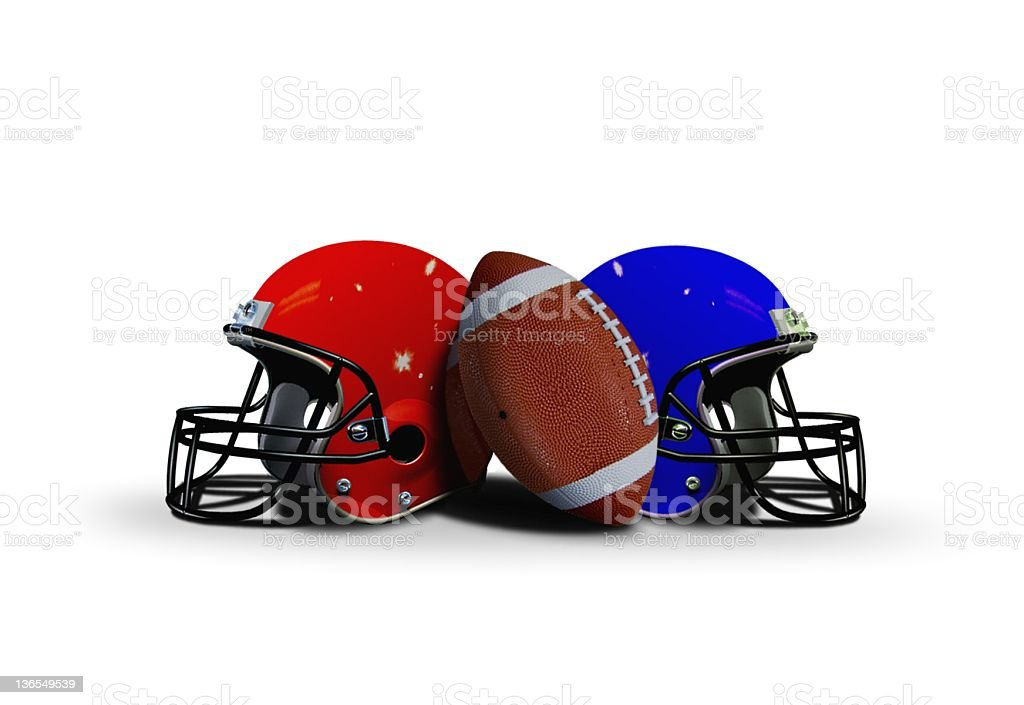 Football ball with two helmets stock photo