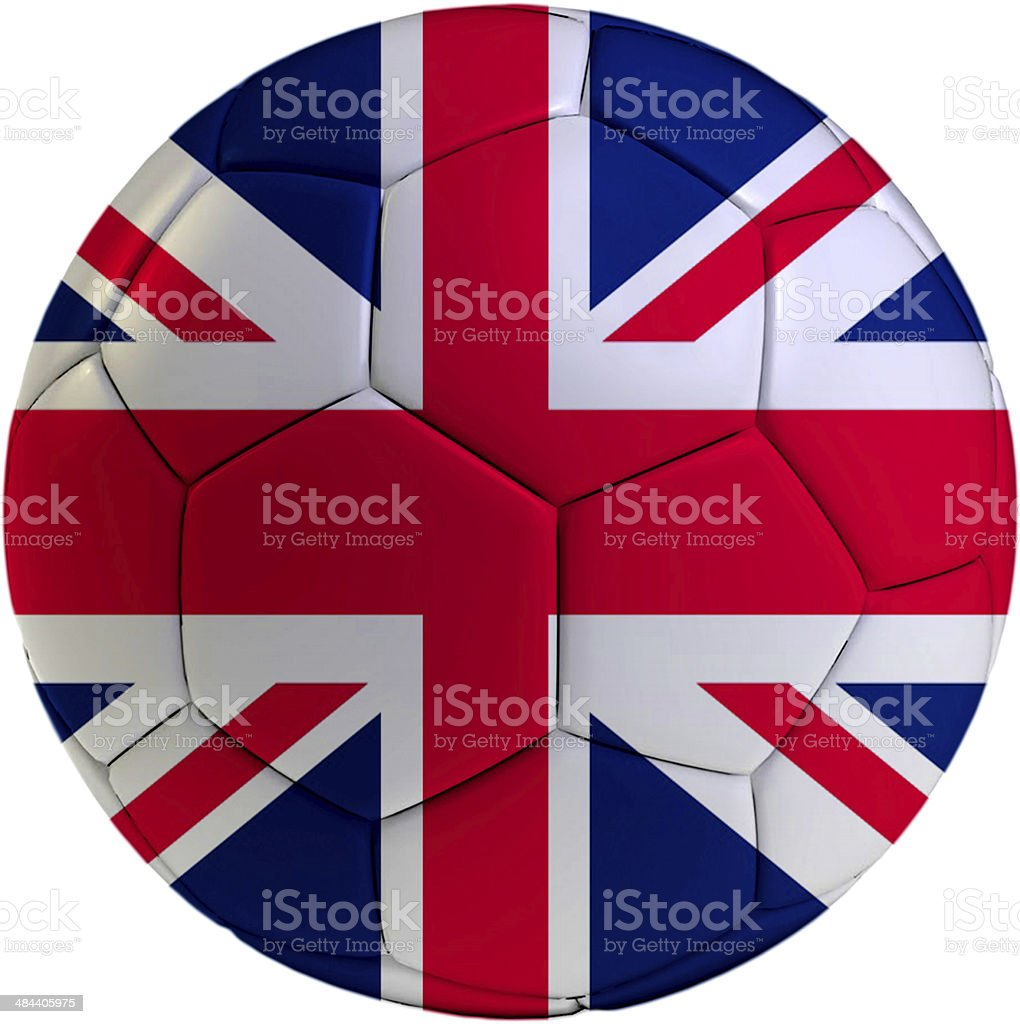 Football ball with United Kingdom flag royalty-free stock photo