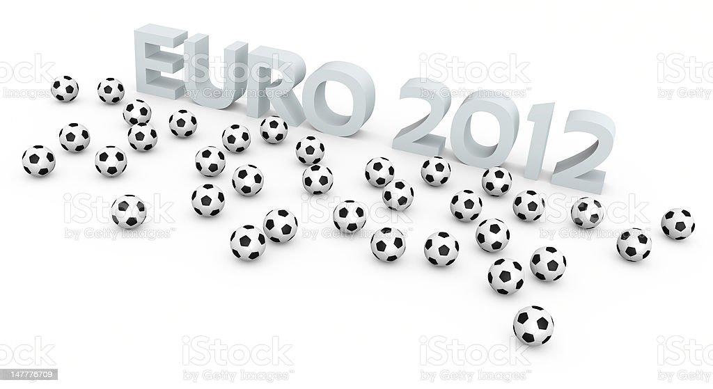 Football balls and EURO 2012 text royalty-free stock photo