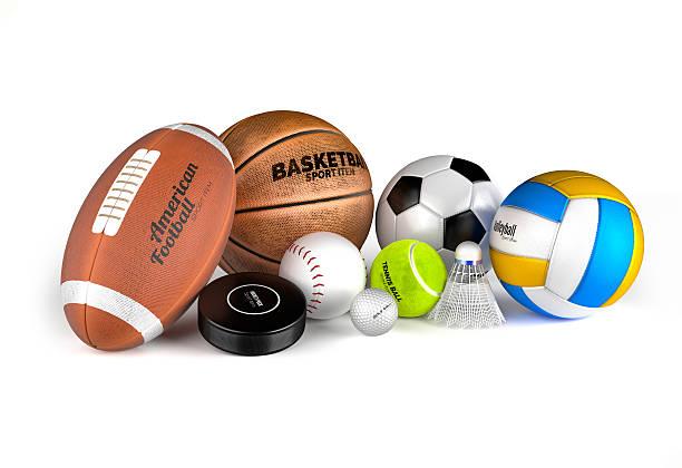 Football, basketball, soccer, volleyball, hockey puck, baseball, stock photo