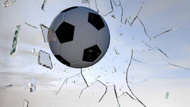 Football breaking glass timelapse series stock photo