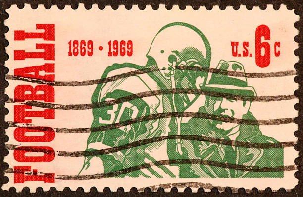 football centenial stamp 1969 stock photo