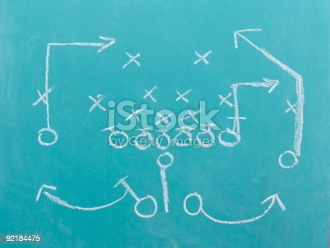 a football play drawn out on a chalk board. See other images for set and plays.