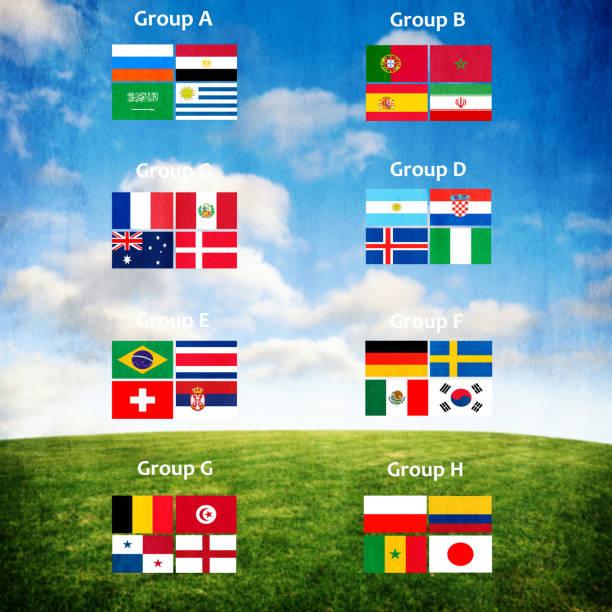 fußball-europameisterschaft im jahr 2018 team - fußball poster stock-fotos und bilder
