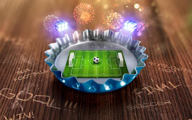 fußball-europameisterschaft in der blauen kappe bier. 3d render - fußball poster stock-fotos und bilder