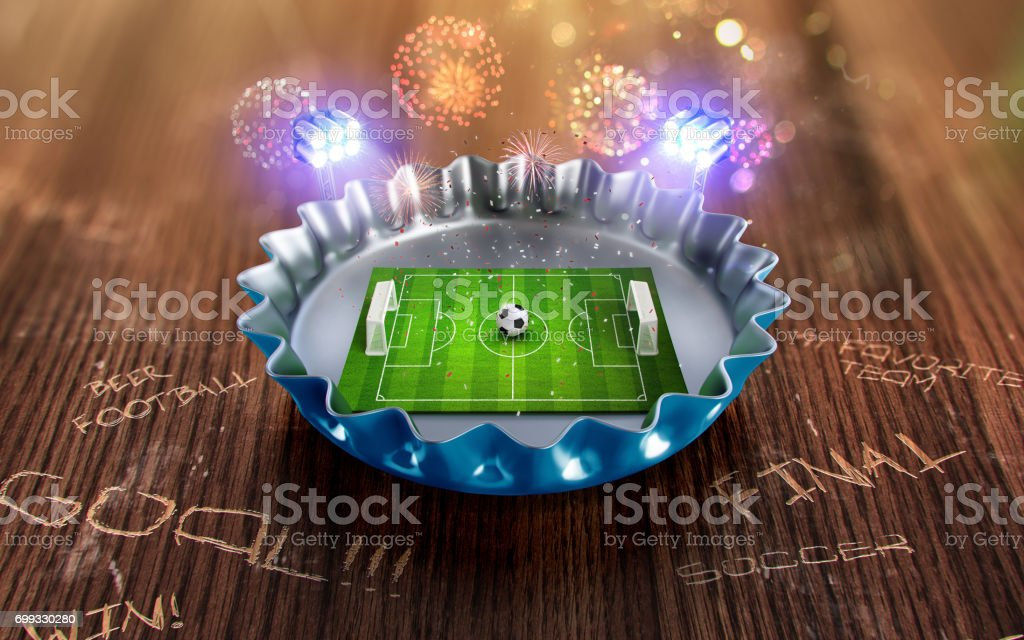 Football championship in the blue beer cap. 3d render stock photo