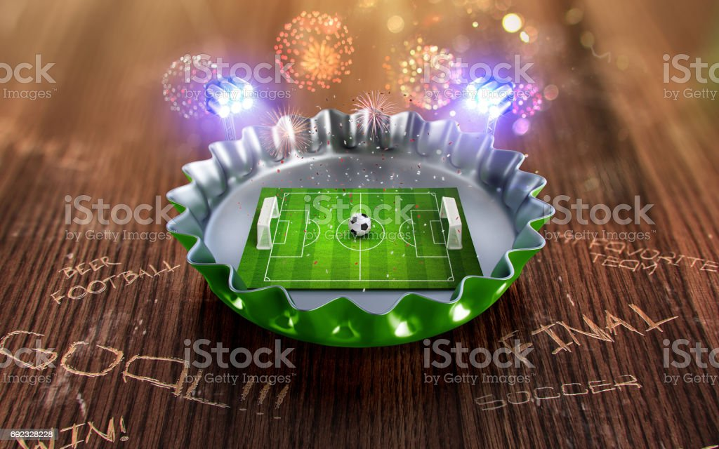 Football championship in the green Beer cap. 3d render stock photo