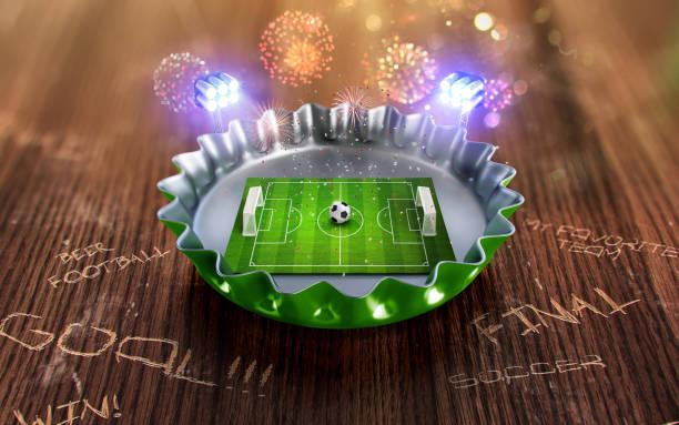 fußball-europameisterschaft in die grüne bier kappe. 3d render - fußball poster stock-fotos und bilder